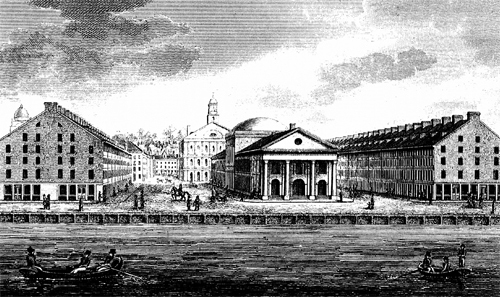 Quincy Market between South and North Market Streets, engraving, private collection