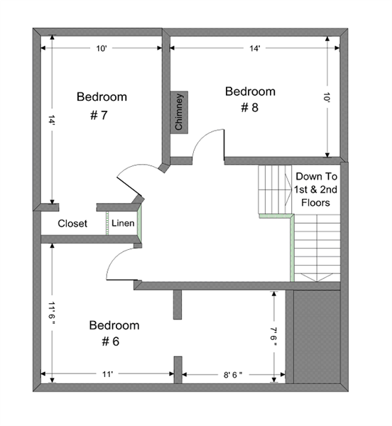 832 E.U. 3rd Floor There is now a bathroom on the 3rd floor (took part of #6 and #7)