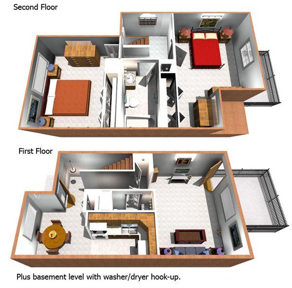 2BR Townhome Floorplan
