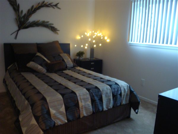 Master suite in the 2BR apartment is just right for a Queen bedroom set