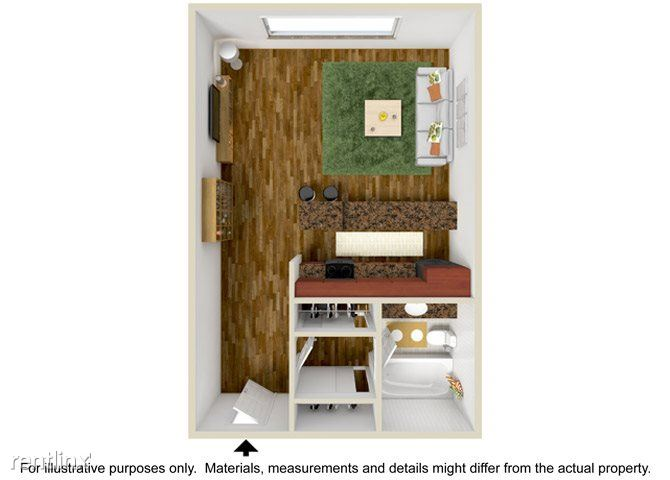 Parkview Terrace Apartments - 1 - Studio Floor Plan