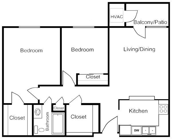 Genial 2 Bedrooms 1 Bathroom 840 Sq. Ft.