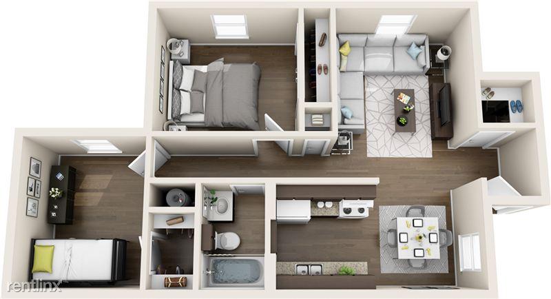 2 bedroom, 1 bath, floor plan