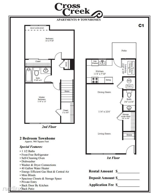 $709   $779 2 Bedroom Townhome