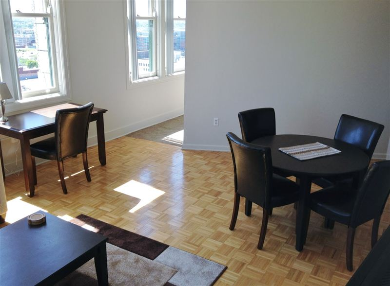 Parquet floor - desk and dining area