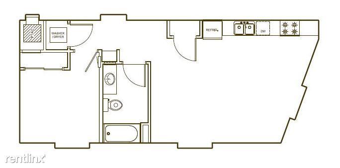 4-G floor-plan. 689 sf.