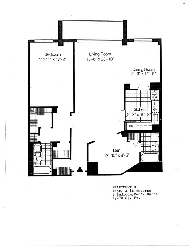 1270 - H&J - 1 bdrm den 2 baths