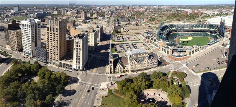Panoramic View From 3201 Comerica - North Woodward, Fox, Grand Circus Park, Kales