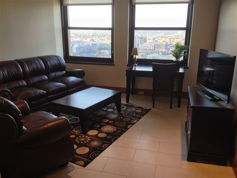 Living Room - Desk - TV - Windows