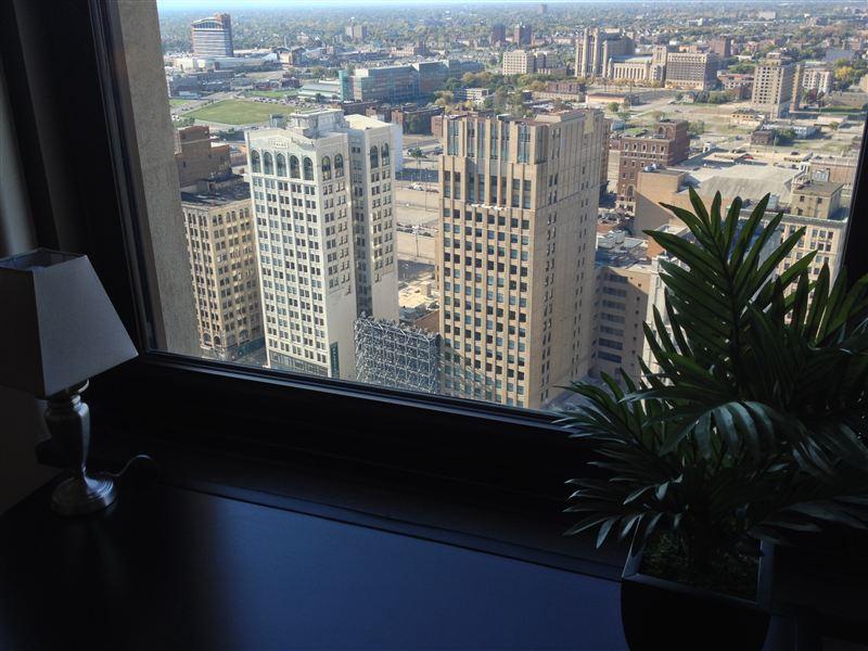 Window - desk - city view