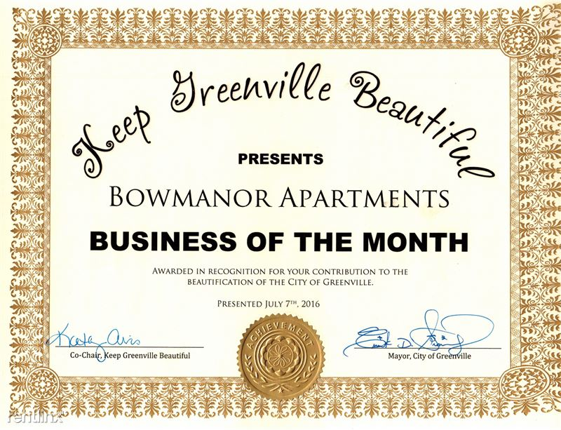 In July of 2016 the city of Greenville awarded us the business of the month! They had never before given an apartment complex this award! Very proud day for us at Bowmanor! We worked hard to earn this!