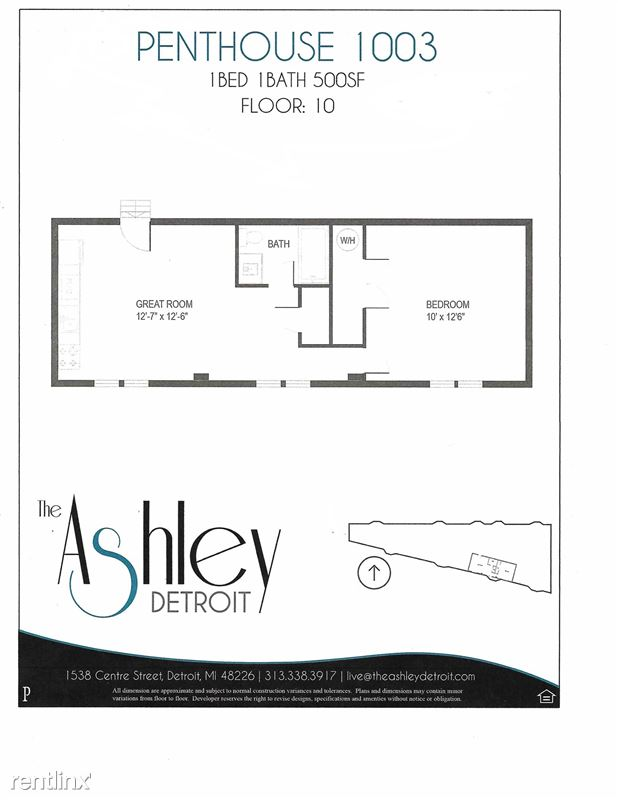Downtown Detroit Furnished @ The Ashley - 1 - 1003 Floor Plan