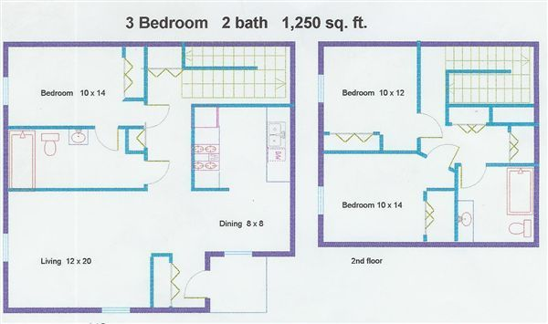 3 bed Floor Plan. Pinehurst Townhomes  6740 Andover Dr   Kalamazoo  MI   Michigan
