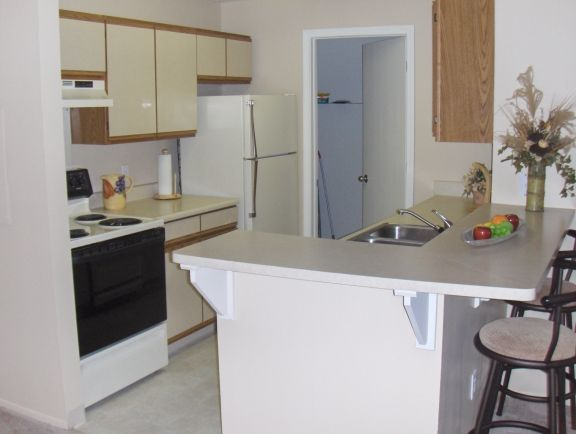 Unit Name  One bedroom  Model Kitchen. Fairfax Apartments  831 Brookside   Lansing  MI   Michigan Housing
