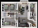 Americana Apartments B - 2 - Americana_3x2_1096sqft_4-person_Web