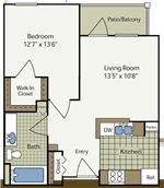Heritage Place at Parkview - 1 - One Bedroom Floorplan