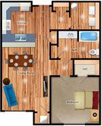 One Penrose Place - 1 - Penrose 1 Bedroom Floorplan