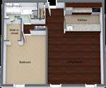 The Claridge Apartments - 3 - Claridge-1 Bed 508 - Level 1 - 3D Floor Plan