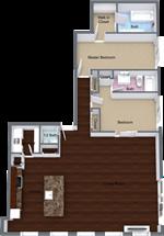 The Claridge Apartments - 14 - Claridge-Penthouse 705 - Level 1 - 3D Floor Plan (2)