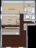 The Claridge Apartments - 5 - Claridge-1 Bed 501 - Level 1 - 3D Floor Plan (1)