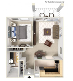 The Tower - 6 - A2, 1x1, 685 sq. ft.