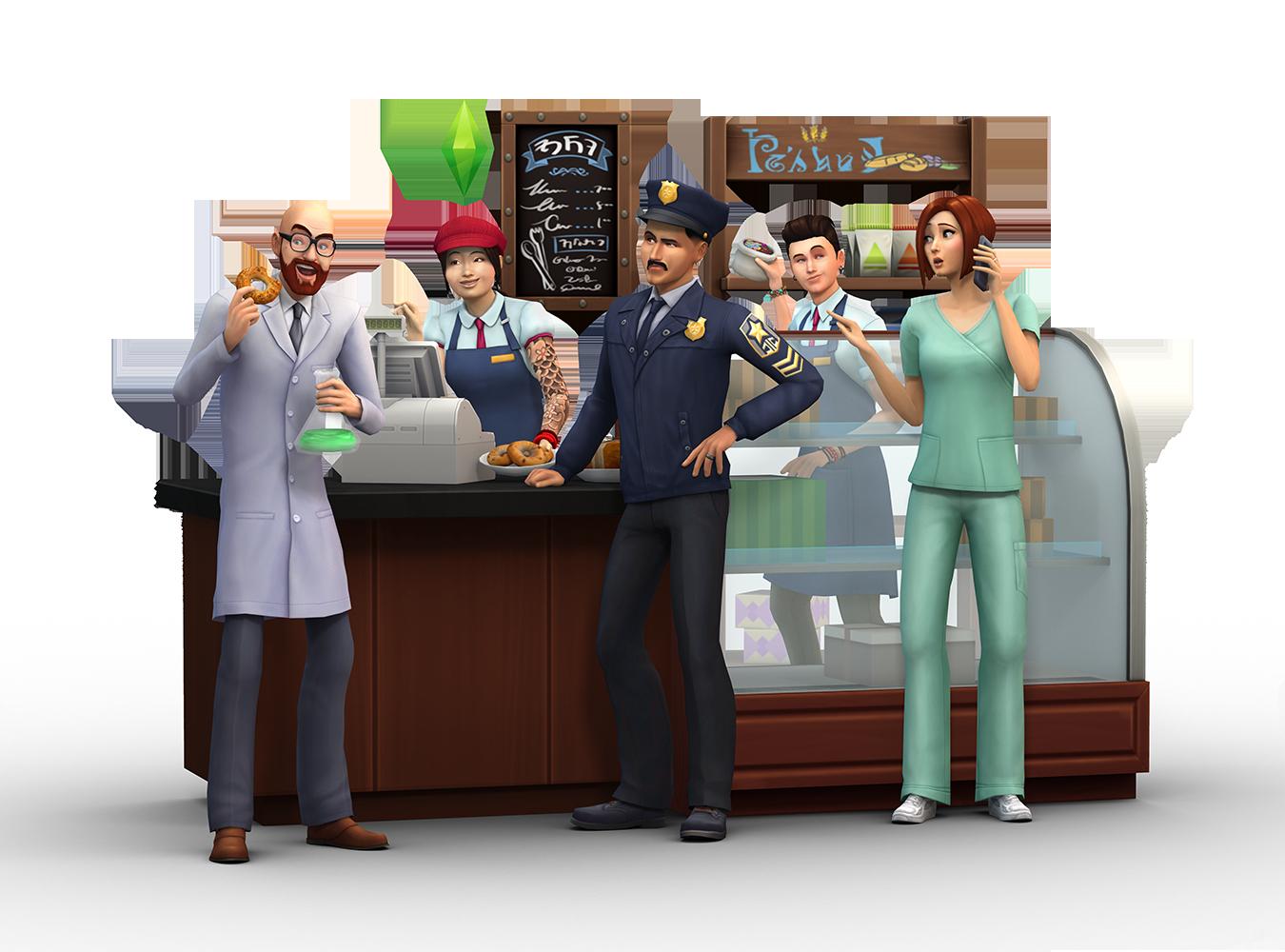 Les Sims 4 Au Travail est le premier pack d'extension pour Les Sims 4. Il comprend trois carrières actives totalement inédites : médecin, détective et scientifique, ainsi que la possibilité de créer, de personnaliser et de gérer des magasins appartenant à vos Sims.