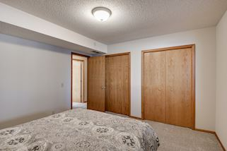 Double closets in lower level bedroom
