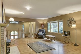 Main level living room overlooks huge lower level great room with tongue & groove vaulted oak ceilings!