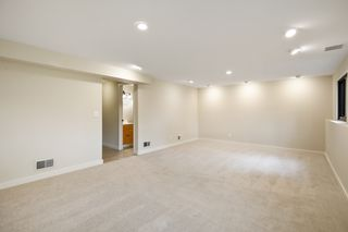 Family room same view as virtually staged - great recessed lighting