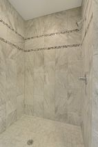 5 x 5 Ceramic Tile Walk-in Shower with Dual Heads
