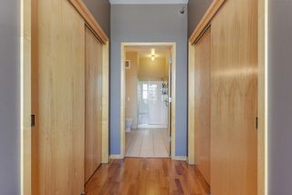 Dual closets flank the private bathroom