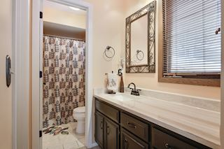 Lovely 3/4 master bath with walk in closet and separate shower area