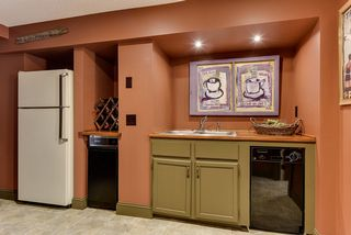Refrigerator, trash compactor, sink and dishwasher in lower level