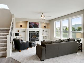 Living room with custom built-ins & fireplace-