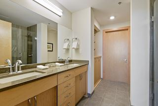 Owners' suite bath has a double vanity and walk-in closet that leads to the large closet.