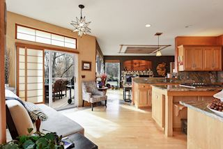 Eat in kitchen with access to outdoor deck and open to family room