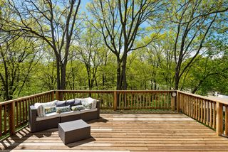 Treetop deck overlooks Minnehaha Creek - Minneapolis icon.