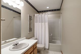 Full bathroom in lower level with lots of cabinet space & separate linen closet