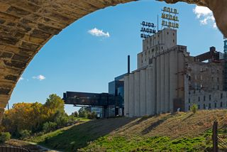 Mill Ruins and the Guthrie Endless Bridge along Misissippi River Blvd
