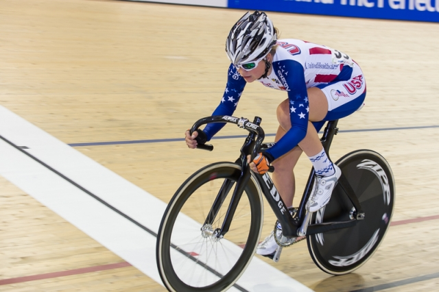 Bailey Semian rides in the scratch race round of the omnium