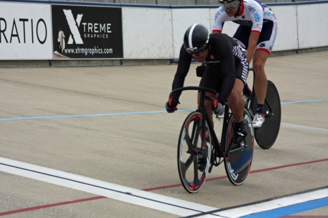 Brian Abers beats James Lawrence in the first heat of their Men's 45-49 Sprint battle.