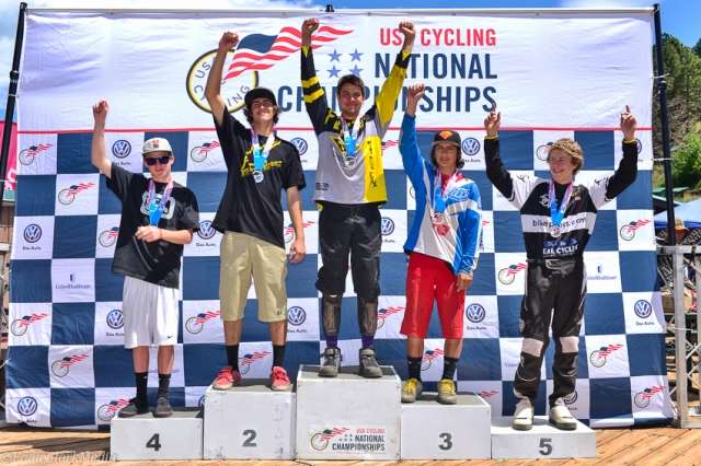 Cat 2 15-18 men's downhill podium