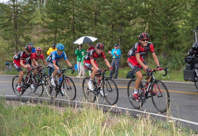 Larry Warbasse leads a chase group up a climb on stage 4