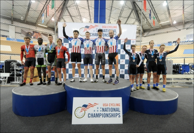 Men's team pursuit podium at 2013 Elite Time Track Nationals