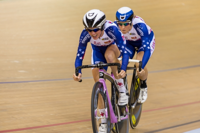 Nadia Latzgo paces Tara McCormick in the team sprint