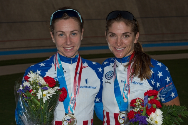 Tela Crane (l) and Cari Higgins are all smiles after getting their Stars-and-Stripes jerseys