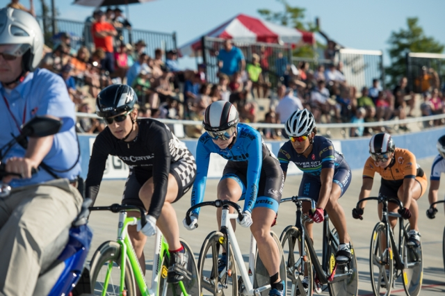 Tela Crane (second from left) on her way to winning women's keirin