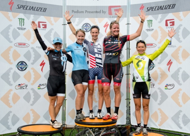 Women's Pro XCT winner Lea Davison is joined on the podium by (l to r) Judy Freeman, Chloe Woodruff, Erica Tingey and Amanda Sin