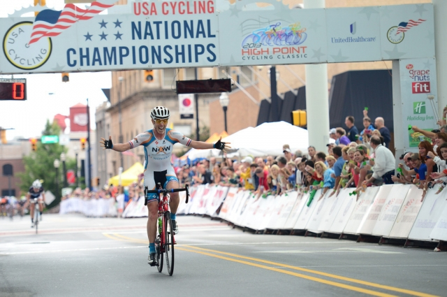 Alison Powers celebrates winning the professional women's race