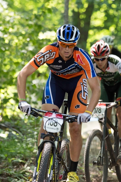 Jason Blodgett navigates a technical section of the short track cross-country course